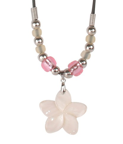 COLOR-CHANGING NECKLACE - LARGE PINK FLOWER SHELL