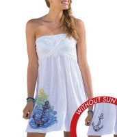 WOMEN'S STRAPLESS BEACH COVER-UP - ANCHORS AWAY